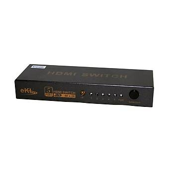Beek BS-VSW-HD51UH 5 Port Giriþ 1 Port Çýkýþ 4K 3D Uzaktan Kumandalý HDMI Görüntü Çoklayýcý