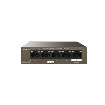 Tenda TEG1105P 5 Port Gigabit 1 Port ethernet 4 Port 30W PoE Masaüstü Switch