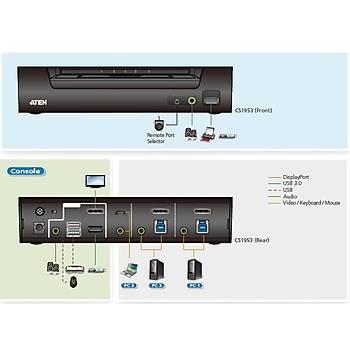 Aten CS1953 3 Port USB Type C Display Port Hybrid KVMP Switch