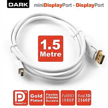 Dark DK-CB-DPXMDPL150 1.5 Mt mini DISPLAY PORT to DISPLAY PORT Erkek-Erkek 2160p Dönüþtürücü Kablo