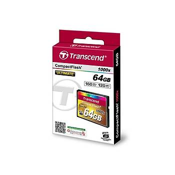 Transcend TS64GCF1000 64 GB CF 1000X Ultimate 160/120Mb/s CompactFlash Hafýza Kartý