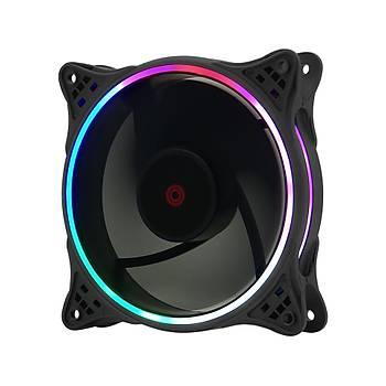 Frisby FCL-F1258B 12 cm Double Slim Ring RGB Fanlý Kasa Faný