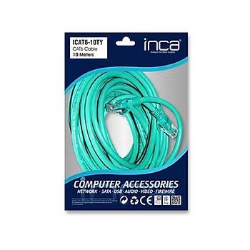 Inca ICAT6-10TY 10 Mt CAT6 UTP AWG23 Yeþil Patch Cord Kablo