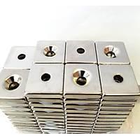 20x20x5 - 10/5 mm Havþa Delikli Kare Neodyum Mýknatýs