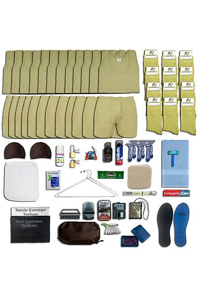 12'li Yazlýk Askýlý Tavsiye Asker Paketi; Bedelli - Acemi Askeri Malzeme Seti