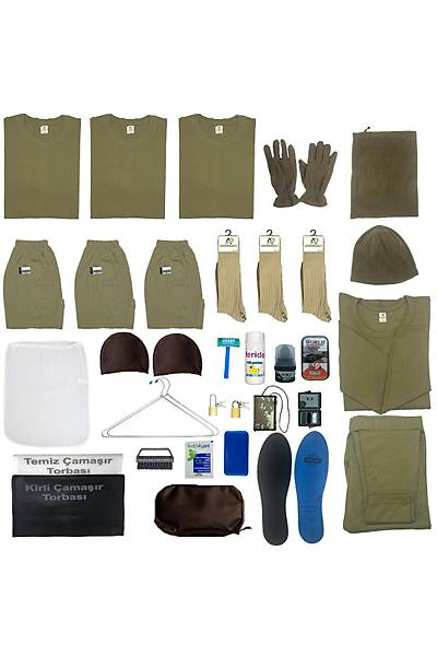 3'lü Temel Kýþlýk Askeri Malzeme Seti:Acemi Bedelli Asker Paketi
