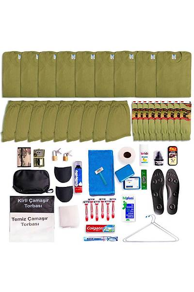 9'lu Tavsiye Asker Seti: Bedelli/Acemi Yazlýk Askeri Malzeme Paketi
