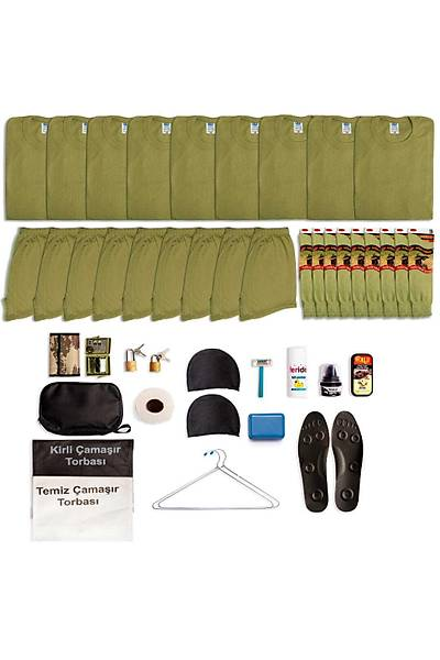 9'lu Temel Asker Seti: Bedelli/Acemi Yazlýk Askeri Malzeme Paketi
