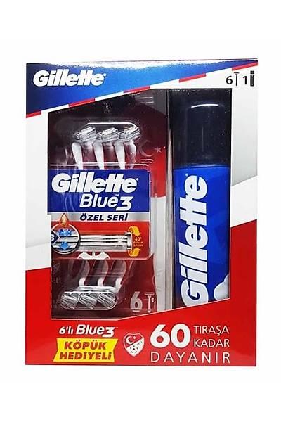 Gillette Traþ Seti Gillette Blue3 6lý Týraþ Býçaðý + 200ml Týraþ Köpüðü Asker Paketi