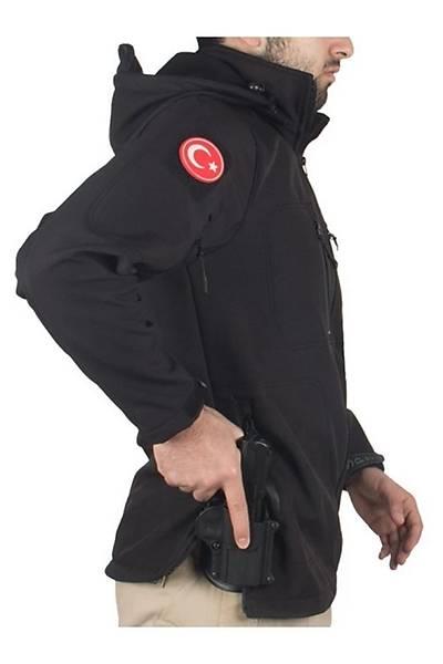 Tactical Softshell Mont Su Ve Rüzgar Geçirmez Siyah Erkek Mont