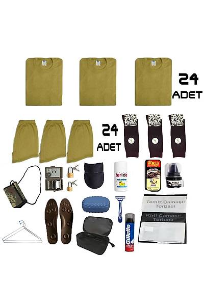 24'lü Temel Jandarma Bedelli Acemi Asker Paketi:Bedelli Acemi Askeri Malzeme Seti