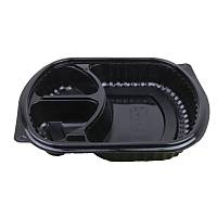 Mikrodalga 3 Bölmeli Yemek Kabý Siyah 50'li paket