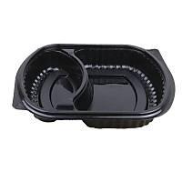 Mikrodalga 2 Bölmeli Yemek Kabý Siyah 50'li paket