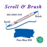 Zig Scroll & Brush Çift Çizgi ve Fýrça Uçlu Kaligrafi ve Gölgeleme Kalemi 030 Blue