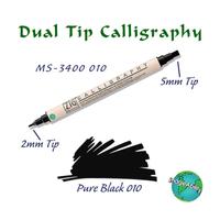 Zig Calligraphy Çift Uçlu Kaligrafi Kalemi 2 mm + 5 mm 010 Black