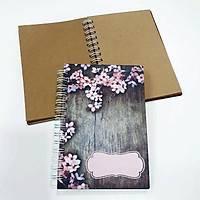 Ahþap Kaplama Defter - Pembe Çiçek Dal