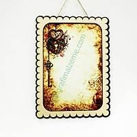 Ahþap Çerçeve AÇ01-043 - Anahtar Kalp