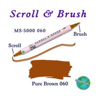 Zig Scroll & Brush Çift Çizgi ve Fýrça Uçlu Kaligrafi ve Gölgeleme Kalemi 060 Pure Brown