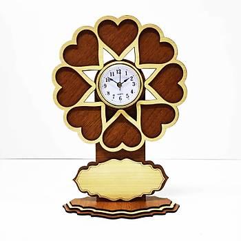 Saatli Döner Kalpli Çerceve - Ceviz