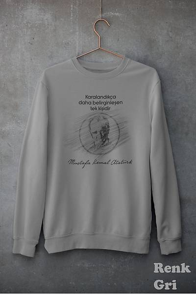Atatürk Karalandýkça Belirginleþen Tek Kiþi (Üniseks Kapüþonsuz)