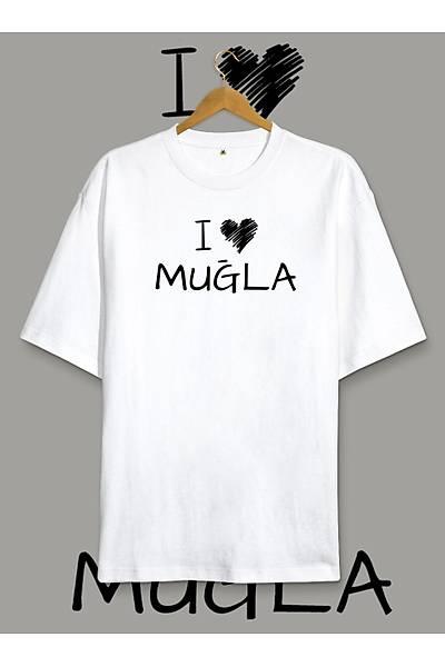 I Love Muðla (Üniseks Oversize Tiþört)
