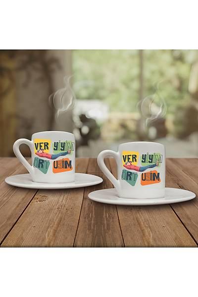 Ver Yiyim Ört Uyuyim (2li Kahve Fincaný Set)