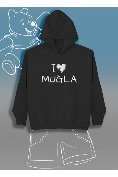 I Love Muðla (çocuk Kapüþonlu)