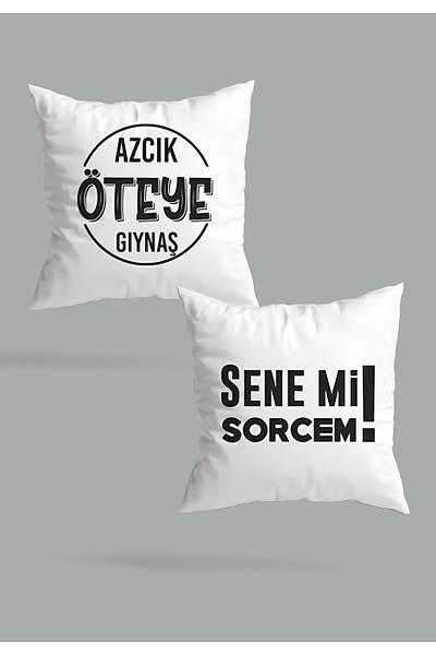 Azcýk Öte Gýynaþ Senemi Sorcem(2 li Kare Yastýk Seti)