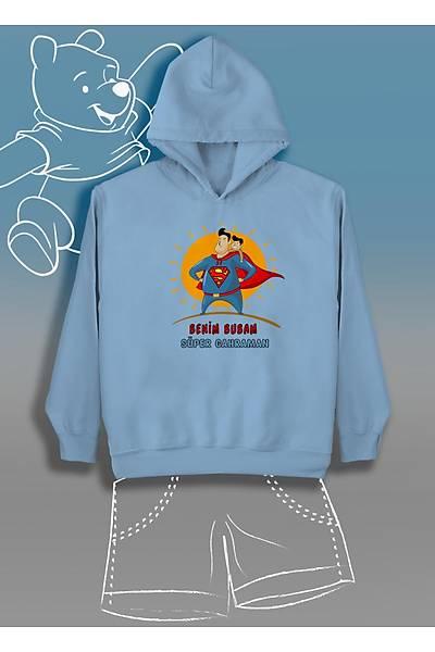 Benim Bubam Süper Gahraman Oðlan  (Üniseks Çocuk Kapüþonlu)