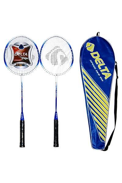 Delta DVR 801 Tek Parça 2 Adet Çiftli Badminton Raketi Çantalý Seti Mavi