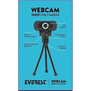 EVEREST SC-HD03 FULL HD WEBCAM METAL TRÝPOD HEDÝYELÝ(1080p)