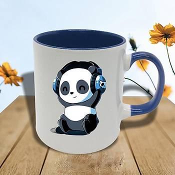 Müzik Dinleyen Panda Mavi Kupa Bardak