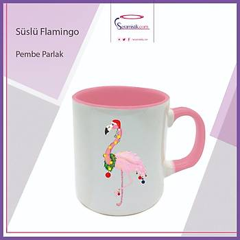 Süslü Flamingo Pembe Kupa Bardak