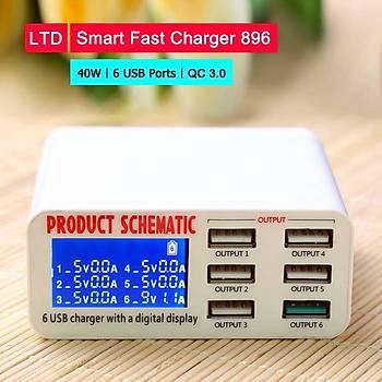 6 Çýkýþlý USB Fast Charger Qualcomm 3.0