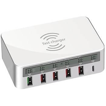 USB Fast Charger Qualcomm 3.0 (Kablosuz Þarj) (6 Çýkýþlý)