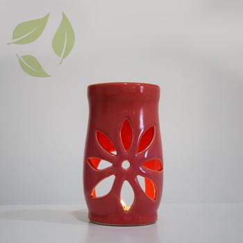 Aromaterapi Lotus Motifli Pembe Seramik Buhurdanlýk