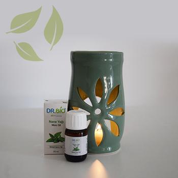 Dr Bio Aromaterapi Lotus Tasarýmlý Soft Yeþil Buhurdanlýk & Nane Yaðý (20 ml)
