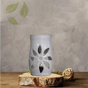 Lotus Motifli Beyaz Seramik Buhurdanlýk
