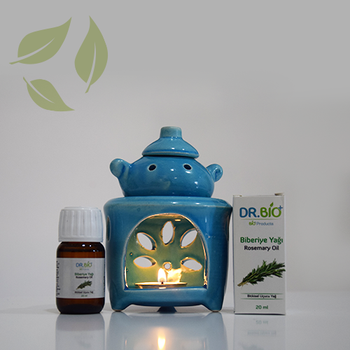 Dr Bio Aromaterapi Çaydanlýk Tasarýmlý Mavi Buhurdanlýk & Dr Bio Biberiye Yaðý (20 ml)