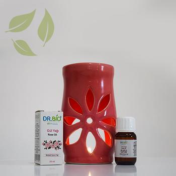 Dr Bio Aromaterapi Lotus Tasarýmlý Pembe Buhurdanlýk & Gül Yaðý (20 ml)