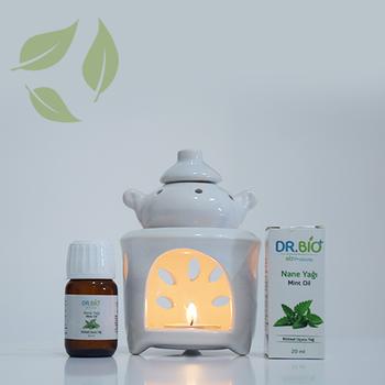 Dr Bio Aromaterapi Çaydanlýk Tasarýmlý Beyaz Buhurdanlýk & Dr Bio Nane Yaðý (20 ml)