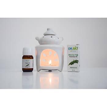 Dr Bio Aromaterapi Çaydanlýk Tasarýmlý Beyaz Buhurdanlýk & Dr Bio Biberiye Yaðý (20 ml)