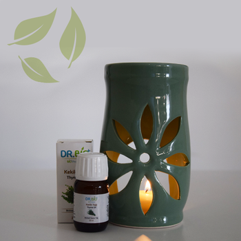 Dr Bio Aromaterapi Lotus Tasarýmlý Soft Yeþil Buhurdanlýk & Kekik Yaðý (20 ml)