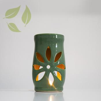 Aromaterapi Lotus Motifli Pastel Yeþil Seramik Buhurdanlýk