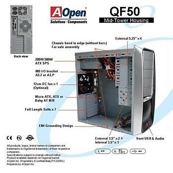Aopen QF50C 300W  ATX Kasa / Gümüþ Siyah