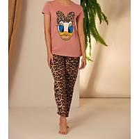 Pembe Leopar Daisy Baskýlý Pijama Takýmý