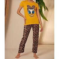 Sarý Leopar Daisy Baskýlý Pijama Takýmý