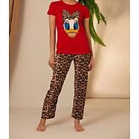 Kýrmýzý Leopar Daisy Baskýlý Pijama Takýmý