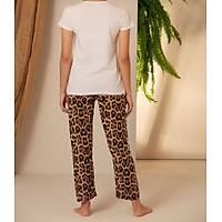 Beyaz Leopar Daisy Baskýlý Pijama Takýmý