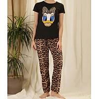 Siyah Leopar Daisy Baskýlý Pijama Takýmý